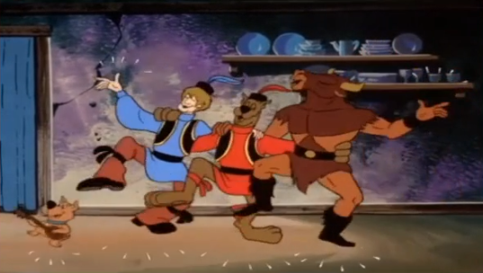 Scooby and Shaggy lead the Minotaur in a traditional song and dance about hating the Turks.
