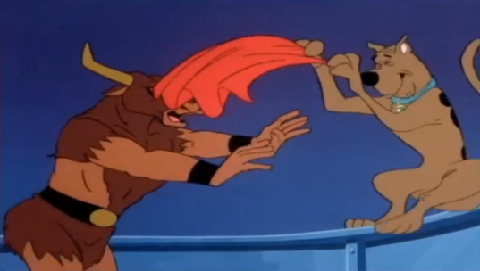 Scooby's squeamish reaction to just the red cape (muleta) part of bullfighting makes me think he might not like what the rest of the sport has to offer . . .