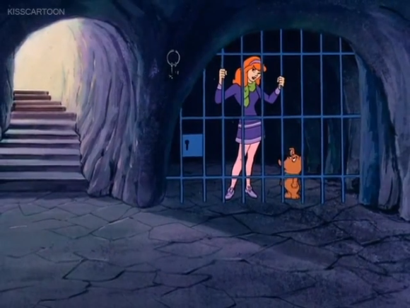 """""""I don't know what to do, Scrappy! They keys are too high for you to reach and the lock is too low for me to reach!""""  """"Hang on, Daphne - I've got an idea!"""""""