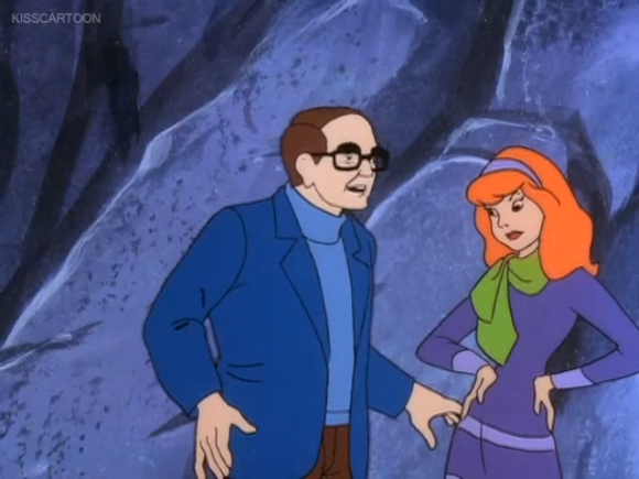 """Daphne expresses skepticism at Professor Busby's enthusiasm for the """"Abs in 30 Days""""  app on his phone."""