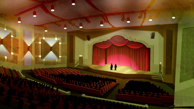 Pictured: A high school auditorium where, presumably, assembly is delivered in operatic monologues.