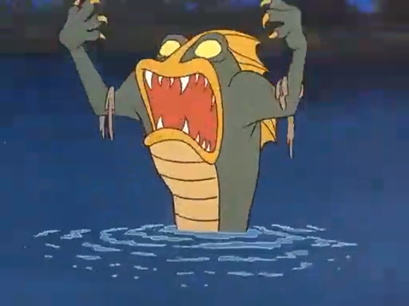The Beast of Bottomless Lake's foot touches some seaweed.
