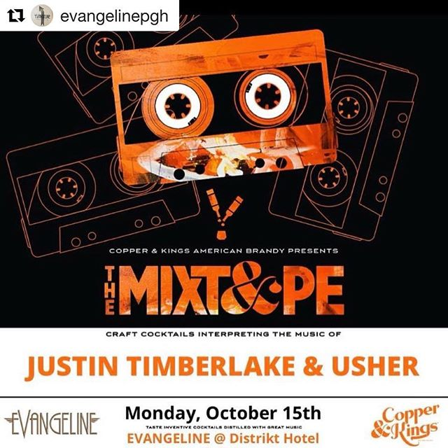 #Repost @evangelinepgh with @get_repost ・・・ Come join us Monday October 15 for @copperandkings MIXTAPE! From 8pm to Midnight, we'll be slinging craft cocktails inspired by the music of Justin Timberlake and Usher with home bartender Namz @mey5012 and featuring guest bartender SJ @strawwjamm from Harris Grill and Hidden Harbor. Come visit these ladies for some great tunes and creative drinks. Bring your smoothest moves too. • • • • #evangelinepgh #ladiesnight #copperandkings #brandyplease #cocktails #mondayfunday #justintimberlake #usher #yesplease #pittsburgh #pittsburghdrinks #downtownpgh #pghcocktails