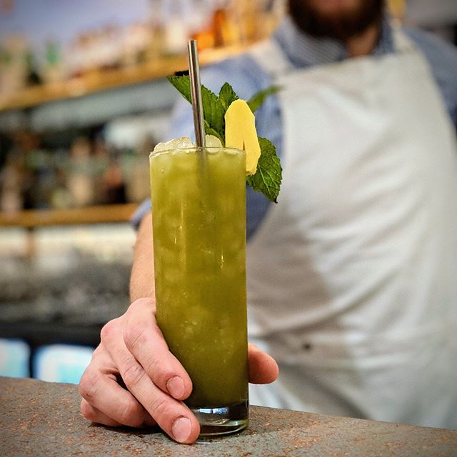 need A Little Encourage-Mint to get through Monday ?  Barr Hill Gin matcha mint honey lemon ginger  #youredoinggreat #EncourageMint #oTWPgh #pghdrinks #craftcocktails #matcha #booze