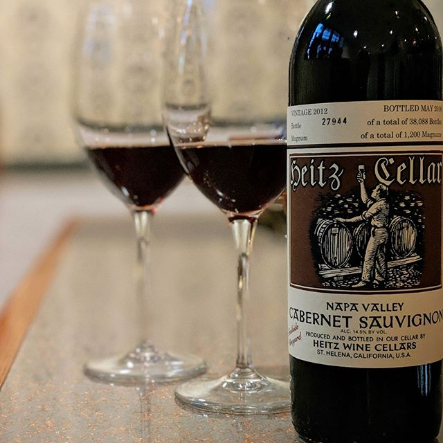 "#winewednesday  Heitz Cellars helped define the California wine industry and is now helping to redefine it with organic and sustainable viniculture while maintaining a level of nearly unmatched excellence.  Come discover why Wine Spectator has dubbed it the ""California Grand Crus"" with luscious black fruits and velvet texture that pairs perfectly with our dry aged steak collection. #californiared #heitzcellar #wineanddine #steakandwine #sustainability"