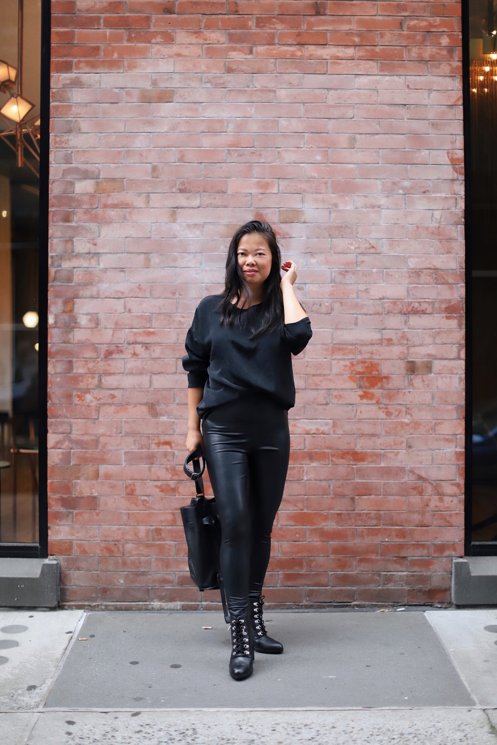 Wearing  Commando faux leather leggings ,  Adrienne Vittadini Thad Bootie from DSW