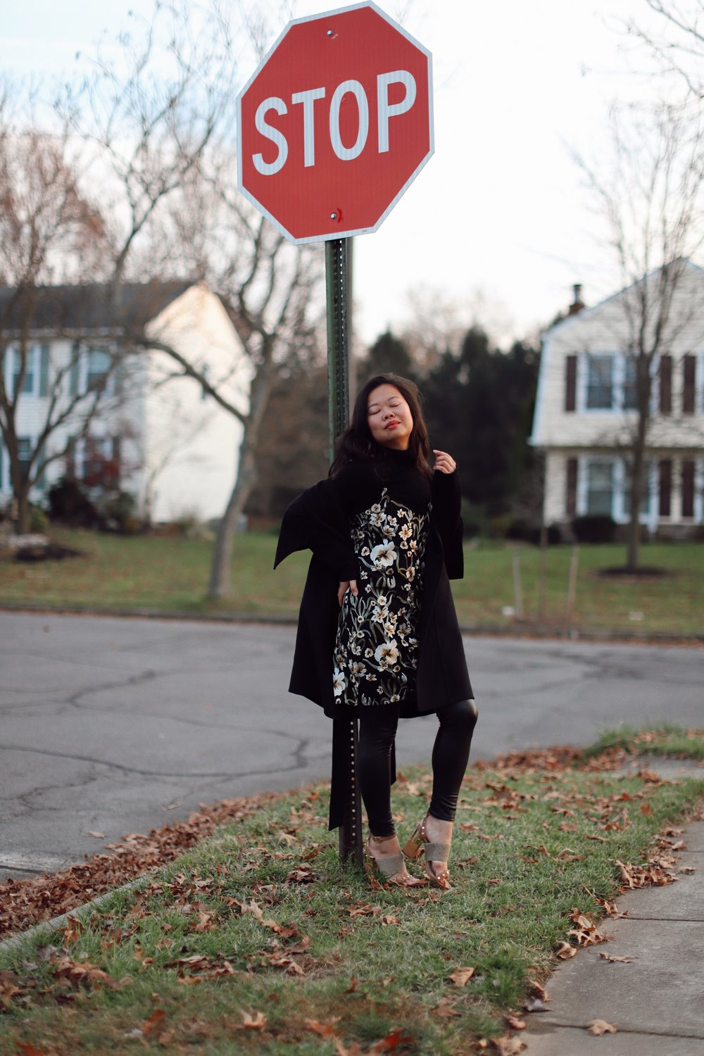 Wearing  Aritzia floral slip dress ,  Commando faux leather leggings , and DVF coat from Nordstrom Rack (old)
