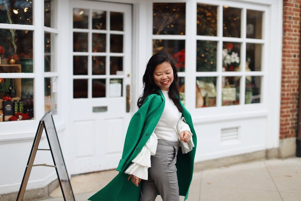 Wearing green wool coat from  Nordstrom Rack  (old), Forever21 top (old),  Zara check pants , and Zara white booties (old)