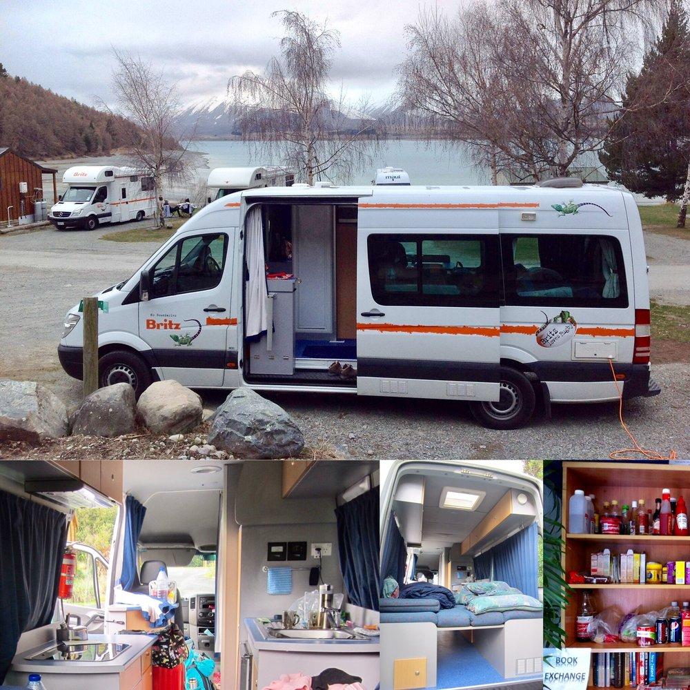 campervan 车内设施。床铺可在睡前自行拆除、安装。