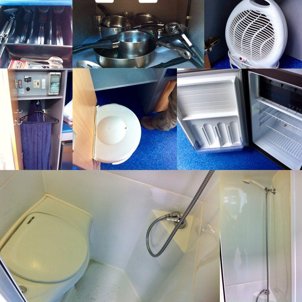 campervan 厨具齐全,只是厕所稍微小了些。洗澡时会不时撞到手肘喔。