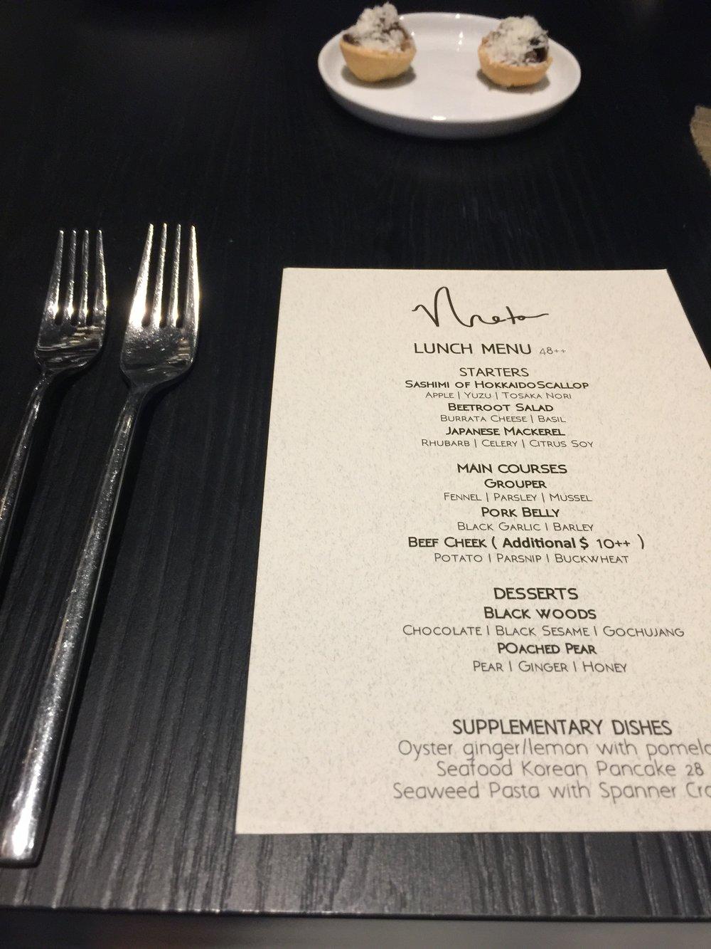 meta restaurant menu