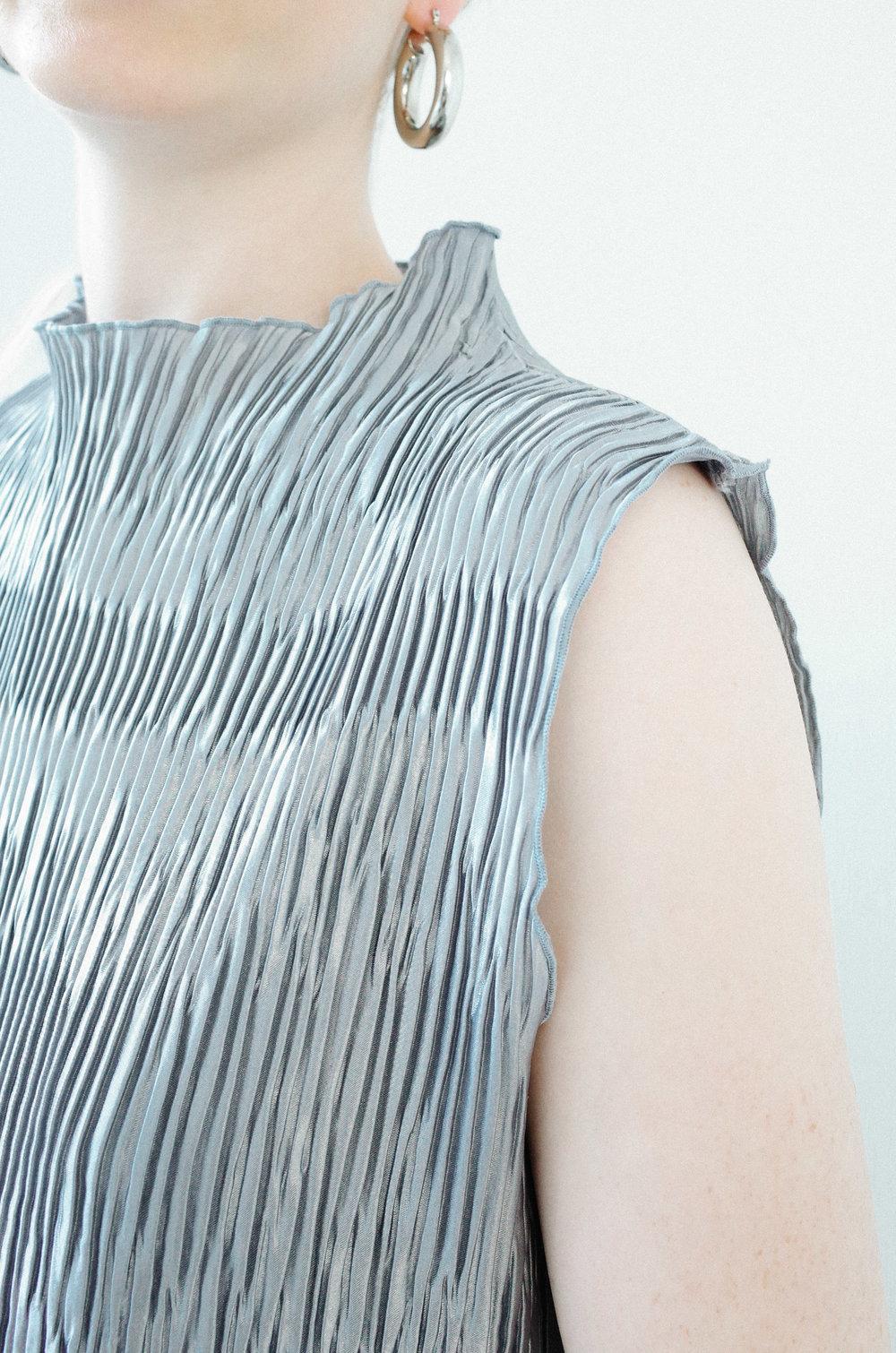 c0cd80fdc6b89 silver micro pleat mockneck blouse