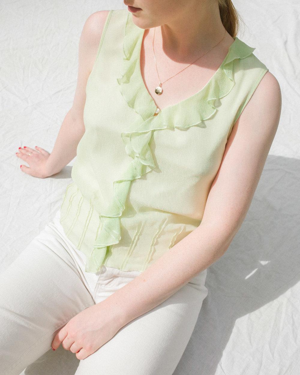 7dbf97e44295d chartreuse sleeveless silk ruffle blouse