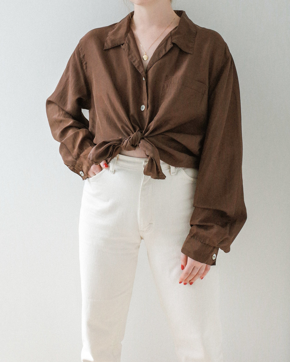 2516a878 BROWN SILK BUTTON UP BLOUSE WITH CAPIZ SHELL BUTTON — BASIS STUDIO