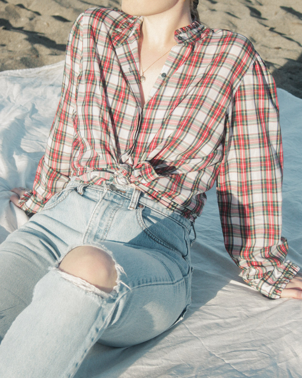 e53007f0 CHECK PLAID BUTTON UP BLOUSE WITH RUFFLE EDGE DETAIL