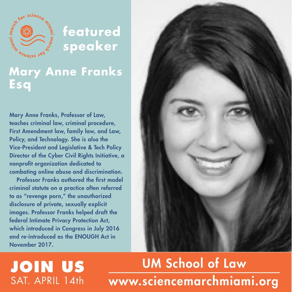 mary ann franks, esq.   professor of law at the university of miami's school of law, vice-president of the  cyber civil rights initiative , author of the upcoming book  The Cult of the Constitution: Guns, Speech, and the Internet  ( Stanford University Press , forthcoming 2018)