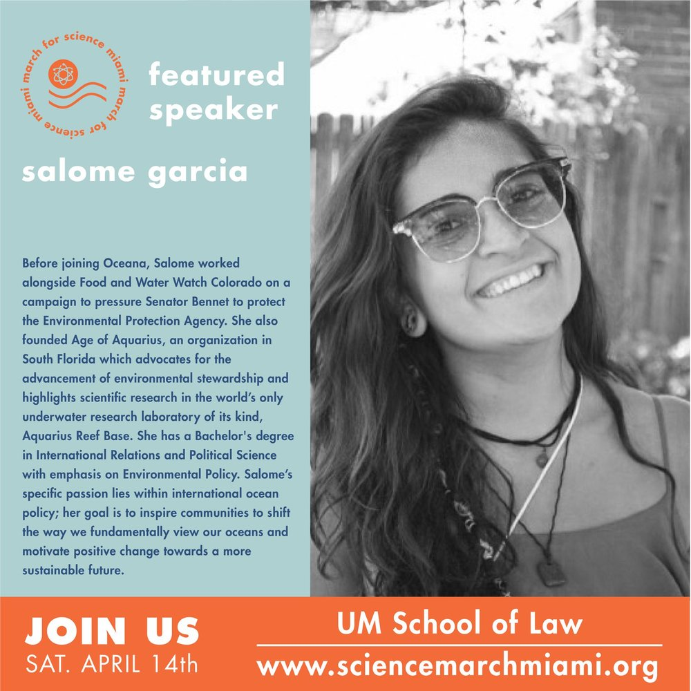 Salome garcia, m.s.   President and co-chair of  350.org  south florida. visit them on  facebook  for frequent updates.