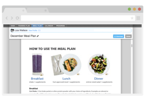 2. Meal Planning - Your meal plan outlines everything you need to eat to hit your fitness goals. You can track your intake, calories, and macros (protein, fat, and carbs) and sync your entries to your MyFitnessPal app!