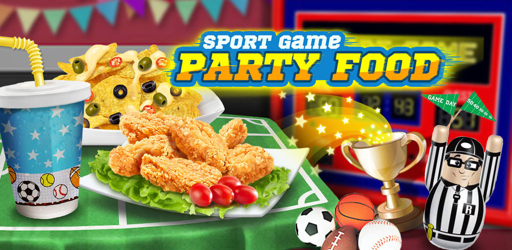 March Champion Sport Food Game  In Sport Game Party Food, prepare the best spread for tonight's game! Use your cooking skills to make the crispiest wings, then toss them in tasty sauces that will make your friends drool and come back for more.