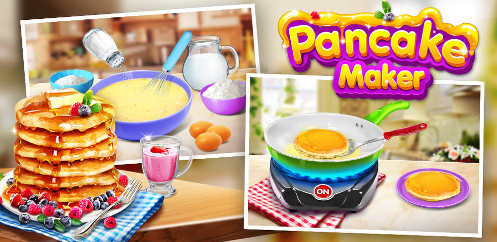Pancake Maker: Kids Food Game  In Pancake Maker, you learn to make your own pancakes for breakfast. You don't have to be a real chef to cook these morning treats like a pro.