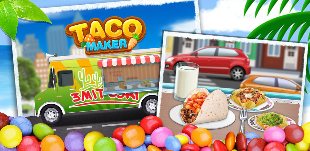 Mexican Taco: Kids Food Game    In Taco Maker, you've been practicing your skills as a chef and now you're finally ready to set up shop in the busy part of town. Hop in your taco truck and get ready to make tacos your customers will love!