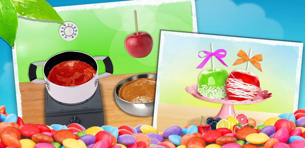 Candy Apple Party Food Maker - Super Chefs!  You can make candy apples any color you want~ do it right here! Learn this awesome candy apple making recipe! Glaze it with awesome and delicious caramel! Or add whatever toppings you want!