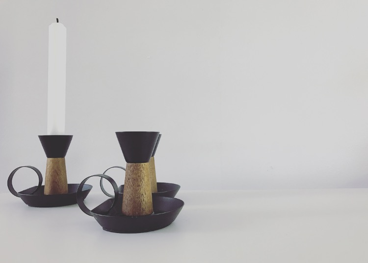 Wooden and Steel Candleholders