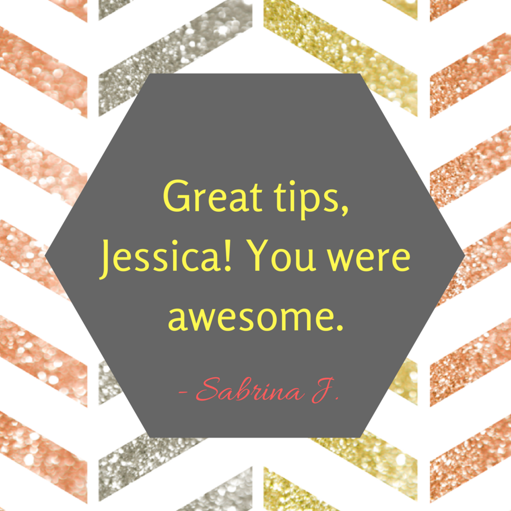 Great tips, Jessica!  You were awesome. from a training on top ten tips to manage your massive to do list.