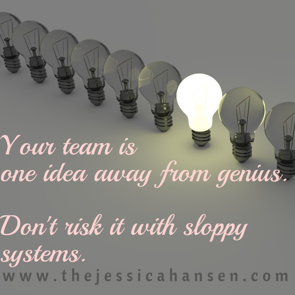 Your team is one idea away from genius. Don't risk it with sloppy systems.