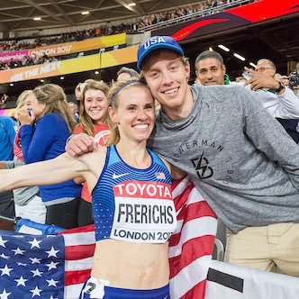 Griffin and Courtney on the victory lap at the 2017 IAAF World Championships, my sister Lindsey with the photo bomb!