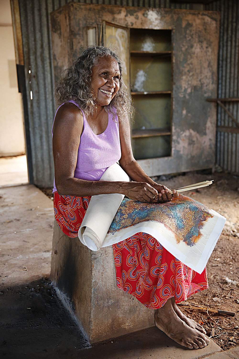 Alery Sandy, Artist, Roebourne, 2013.  Edition of 3.
