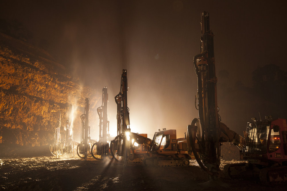 Blast Rigs in the Rain, Chirano Gold Mine, 2012.  Edition of 3.