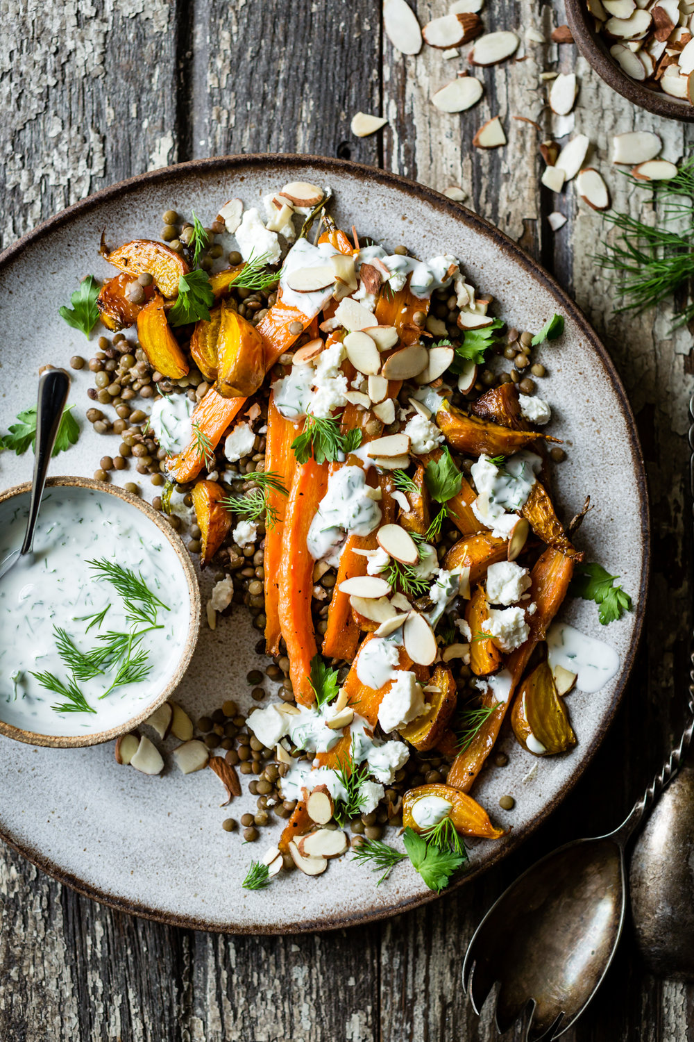 Monday - Roasted beet, carrot and lentil salad with with feta, yoghurt and dill