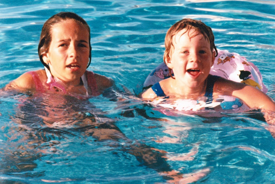 My cousin and me swimming in France (Ile de Ré)