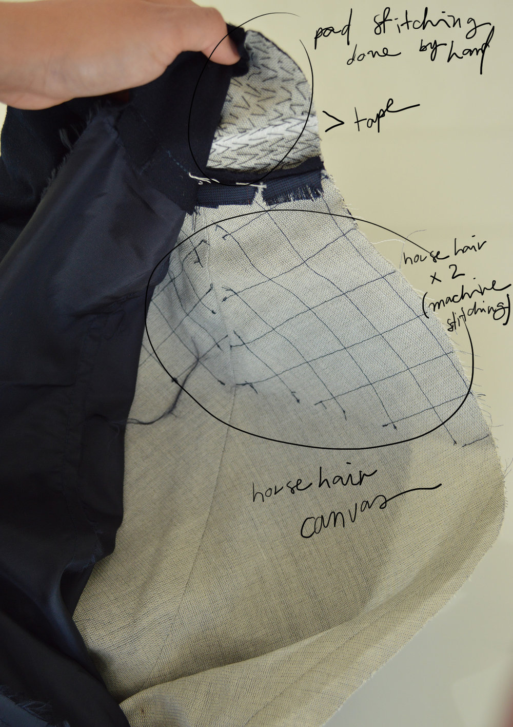 Traditional tailoring - horse hair canvas + pad stitching (2013)