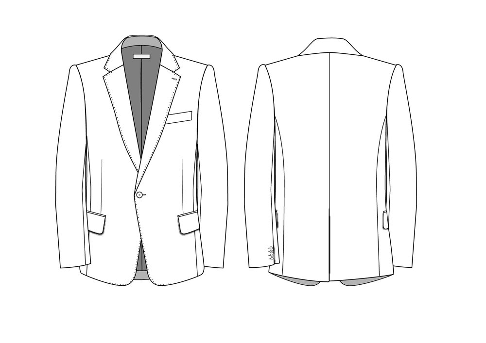 Classic men's blazer flat skecthes - click to download the AI file