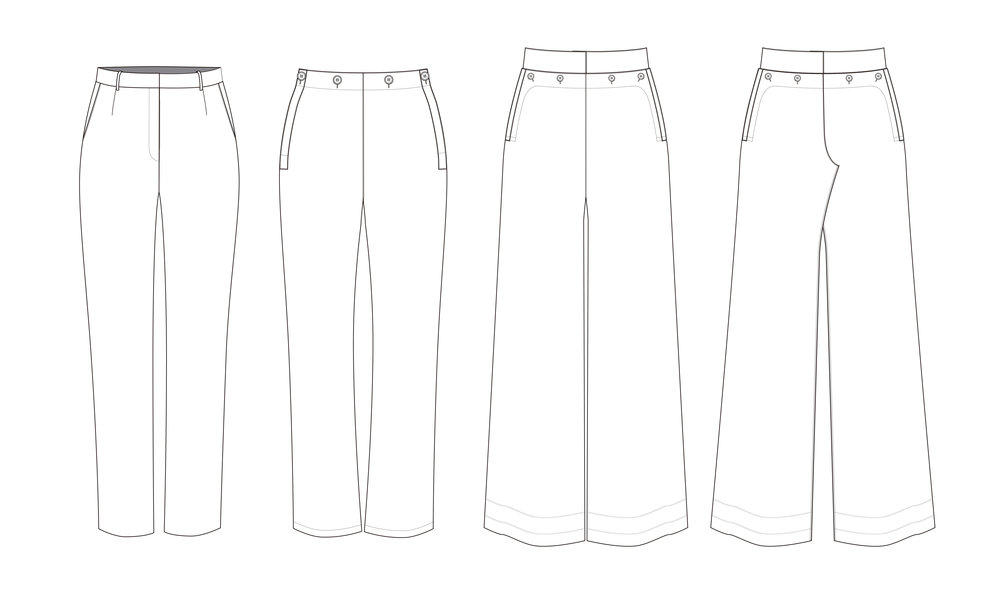 Flat sketches of the styles on the post: click to download the AI file with Back views
