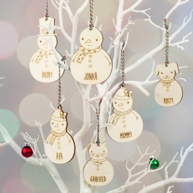 Personalised Snowman Christmas Decoration Family Set from Scamp