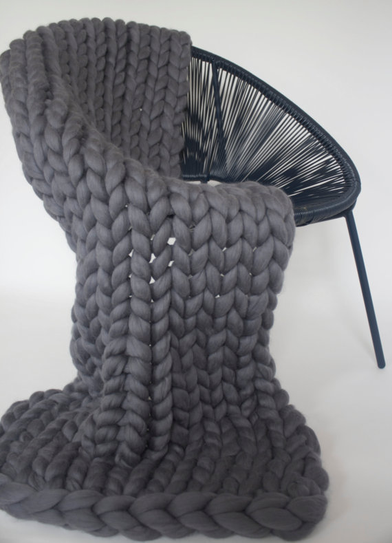 Could anything be cosier than this supersize knitted blanket from Saint Wools?