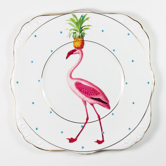 I've been lusting after  Yvonne Ellen 's gorgeous ceramics for ages, and I'm excited to get to look through her stall at the London Local x Etsy Made Local market. This fancy flamingo plate is just one of her brilliant creations.
