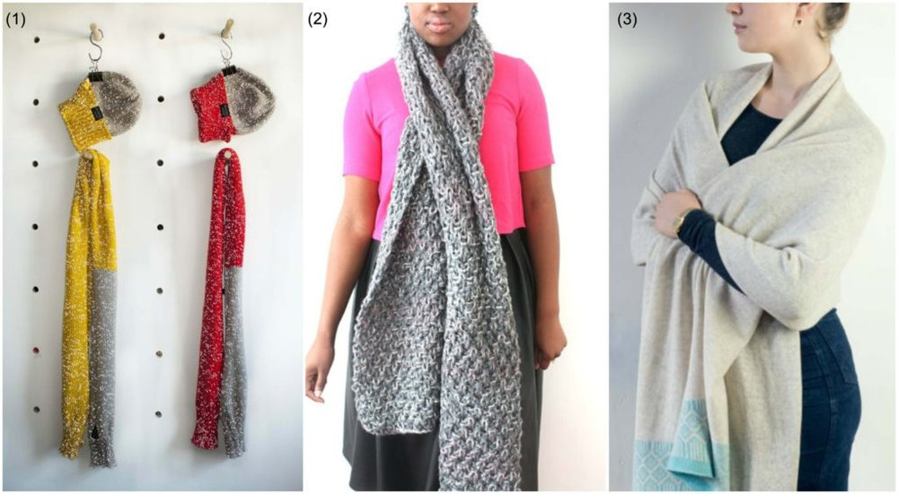 Winter scarves: (1) Reflective scarf by  Pluck'D Designs  | (2) Chunky knit scarf by  Urban Knit  | (3) Knit shawl by  Miss Knit Nat
