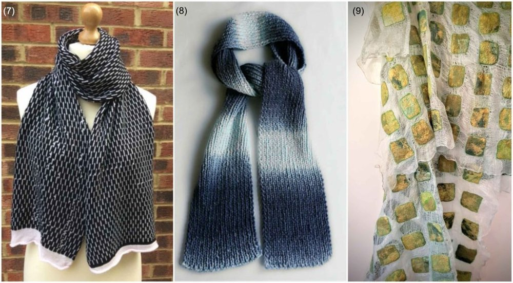 Winter scarves: (7) Knit scarf by  Studio Rajka  | (8) Knit scarf by  Donut Duo  | (9) Nuno felt silk scarf by  Larissa O Gorman