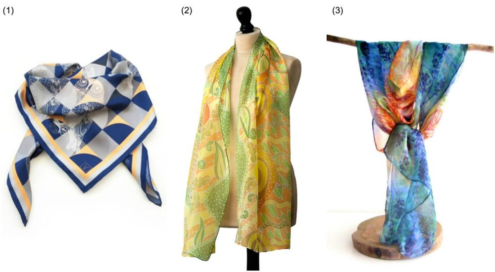Spring scarves: (1) Printed silk scarf by  Volpine  | (2) Hand painted silk scarf by  Arati Devasher  | (3) Printed silk scarf by  Luminellis