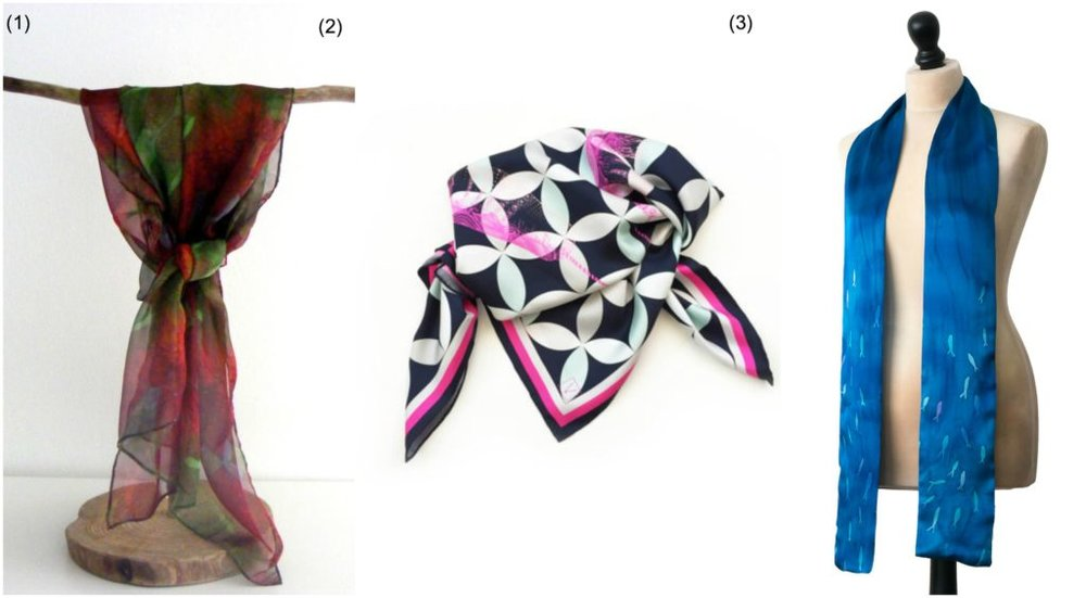 Summer scarves: (1) Printed silk chiffon scarf by  Luminellis  | (2) Printed silk scarf by  Volpine  | (3) Hand painted silk skinny scarf by  Arati Devasher