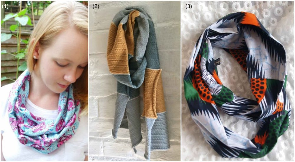 Autumn scarves: (1) Cotton snood scarf by  Is It Sew  | (2) Cotton knit scarf by  Lord and Taft  | (4) African cotton snood scarf by  By KalaX