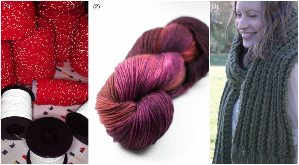 Try (1) Reflective yarn from  Pluck'd Designs  | (2) Hand dyed yarn from  Felt Buddies and Yarns  | (3) Knitting patterns from  MissKnitNat