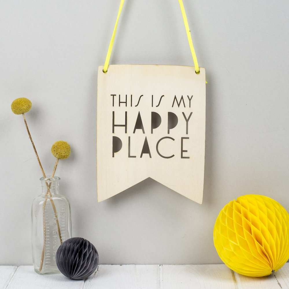This Is My Happy Place Wooden Wall Pennant