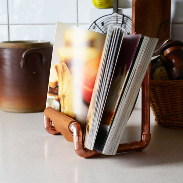 Copper and leather cookbook stand by SlinkyHome