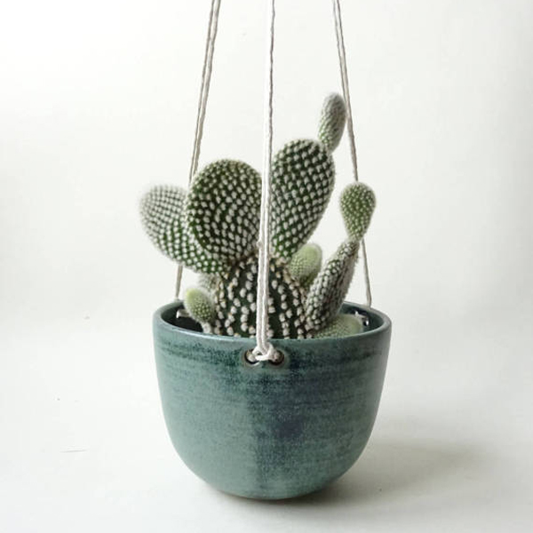 Thrown ceramic hanging planter by viCeramics