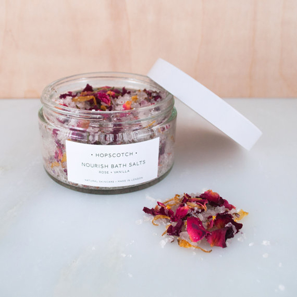 Nourishing rose and vanilla bath salts by Hopscotch